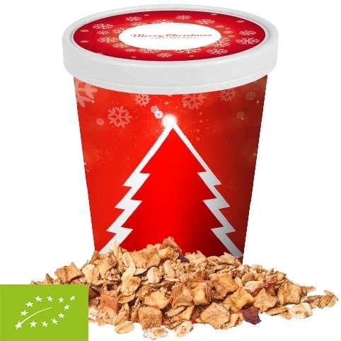 Bio Crunchy Weihnachtsmüsli Apfel-Zimt, ca. 60g, Snackbecher Maxi