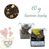 Kompostierbarer Zellglas-Beutel, Öko-Bodenlabel aus Graspapier, Geprägtes Verschluss-Siegel aus Zuckerrohrpapier. Komplett abbaubar. Inhalt 60 g