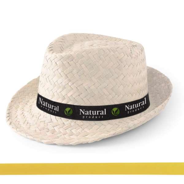 Strohhut Zelio (weiss) mit bedrucktem Hutband