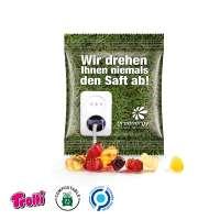 Fruchtsaft Gummibärchen Minitüte 10g, kompostierbare Folie, weiß