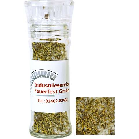 Gewürzmischung Rosmarin-Salz, ca. 65g, transparente Gewürzmühle