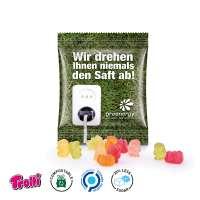 Zuckerreduzierte Gummibärchen Minitüte, kompostierbare Folie, weiß