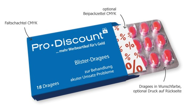 Blister-Dragee Bonbons in Tablettenoptik