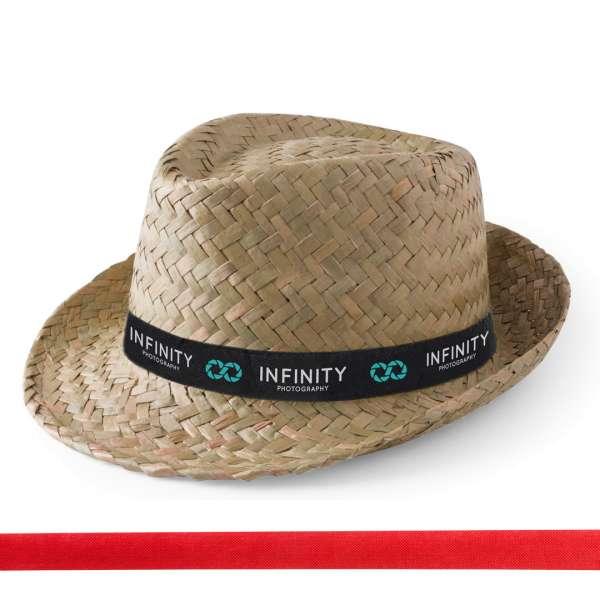 Strohhut Zelio (natur) mit bedrucktem Hutband