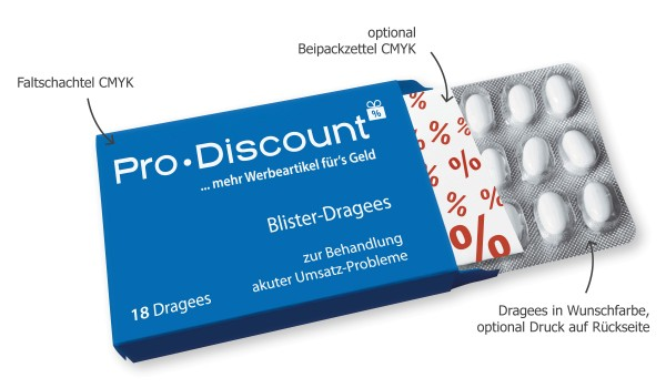 18er-Blister-Dragee Bonbons in Tablettenoptik