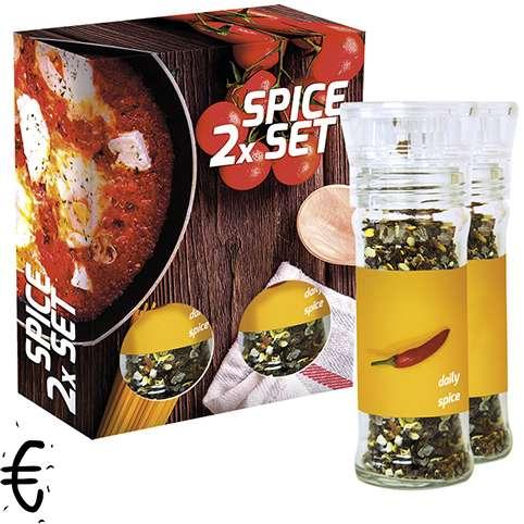 Verschiedene Gewürzmischungen Bio und nicht Bio (€), 35-80g, 2er Set Glas mit Kunststoffmahlwerk in