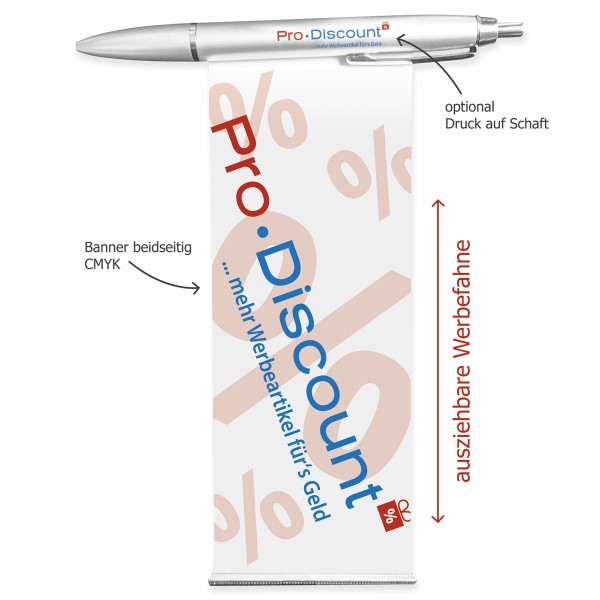 Banner-Kugelschreiber mit Druck auf Werbefahne
