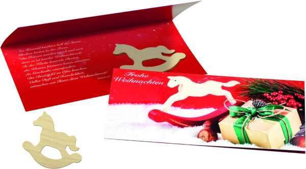 Weihnachtskarte Schaukelpferd