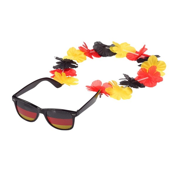 "Spaßbrille ""Germany"" mit Blumenkette"