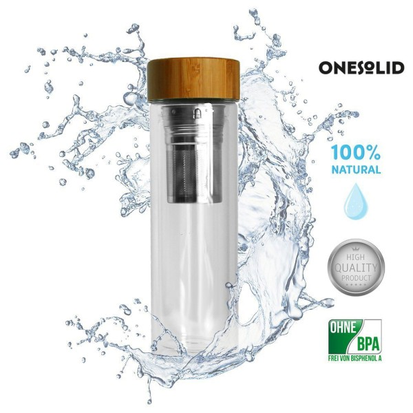 ONESOLID® *Eco-Classic* Sport Trinkflasche Glas Bambus