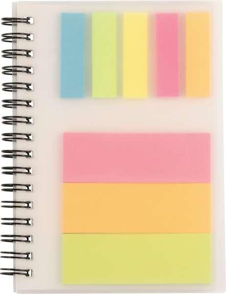 Notizbuch 'Colours' mit Ringbindung und Haftnotizen