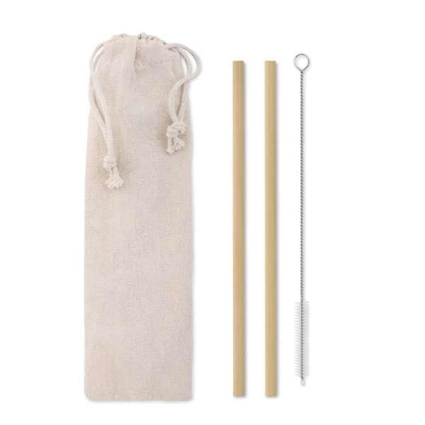 Bambus Trinkhalme-Set NATURAL STRAW