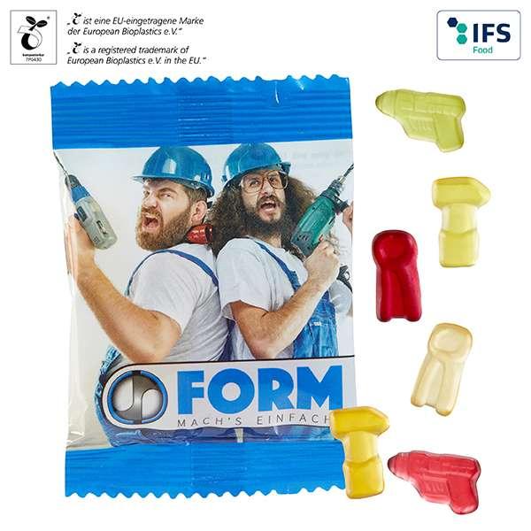 Fruchtgummi-Standardformen 10 g im kompostierbaren Tütchen