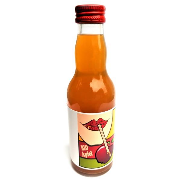 BIO Apfel-Saft 200 ml Glasflasche mit bedrucktem Label - pfandfrei