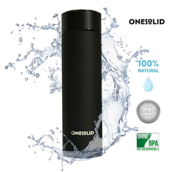 ONESOLID® *Atrum* Edelstahl Isolierflasche Sport matt-schwarz