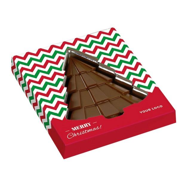 Schokoladen-Weihnachtsbaum in bedrucktem Schuber